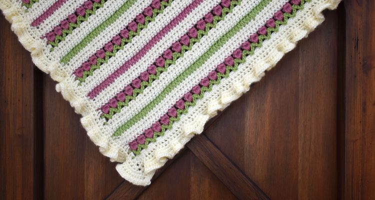 Ruffled Rose Garden Baby Blanket Crochet Pattern
