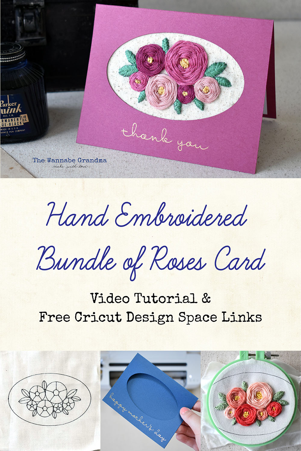 Hand Embroidered Bundle of Roses Card