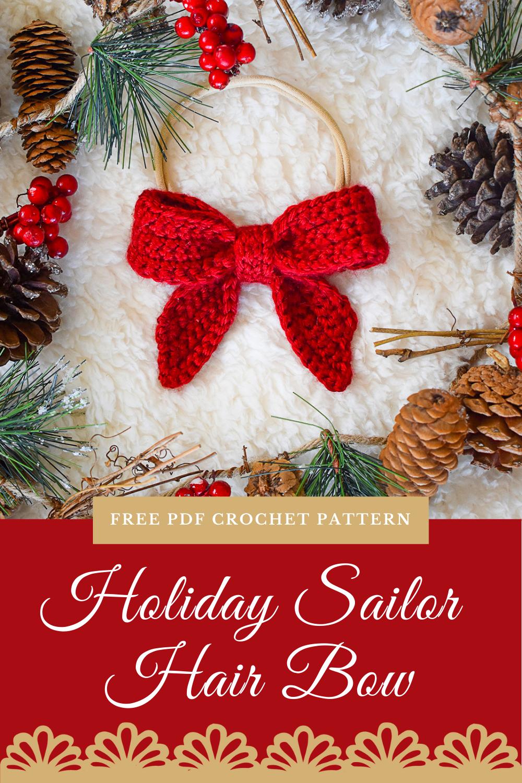 Classic Sailor Hair Bow Free Crochet Pattern