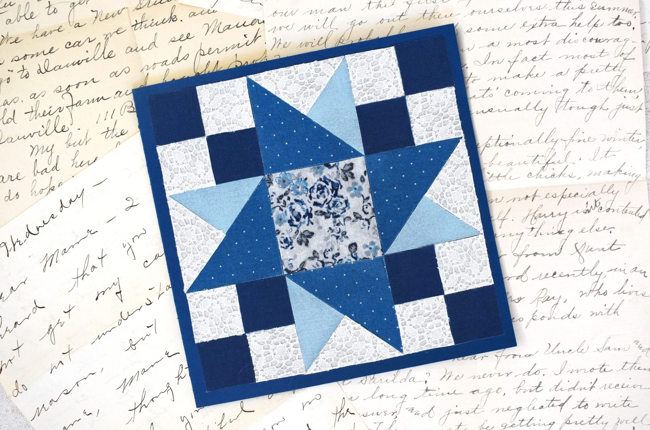 Fabric Quilt Block Card with Cricut